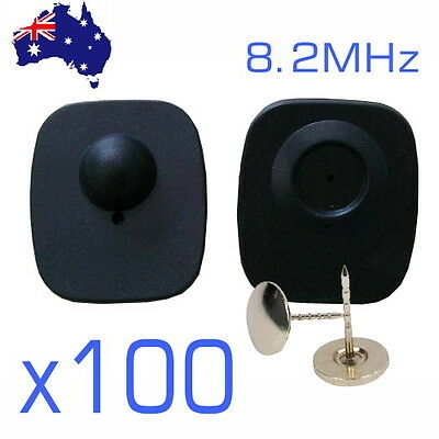 100 x 8.2MHz Hard Tags and Pins for RF EAS Anti Theft Security System