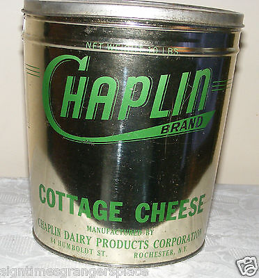 VINTAGE CHAPLIN Cottage Cheese 10 lb TIN CHAPLIN DAIRY PRODUCTS ROCHESTER, NY