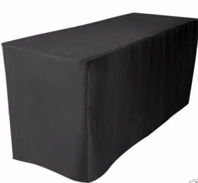 4' ft. Fitted Polyester Table Cover Tablecloth Black Trade shows 30 inch Width