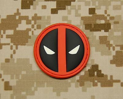 3D PVC Deadpool GITD Morale Patch VELCRO® Brand Hook Backing