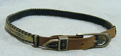 Vintage Native American Hitched Horse Hair & Leather Belt Silver Buckle Loop Tip