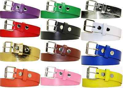 Kids Children Plain Solid Bright Color Bonded Leather Belt S M L XL Boys Girls