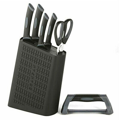 New Scanpan Spectrum 6Pc Uni Block Knife Set + Shears + Sharpener Black