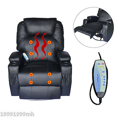 HOMCOM Therapeutic Heated Massage Reclining Black Chair Relaxing Home Furniture
