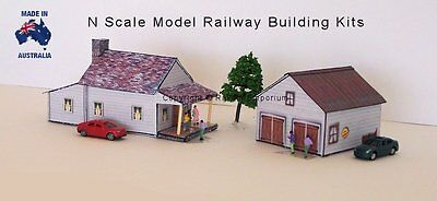 N Scale House, Garage with Rebates Model Railway Building Kit - NHG1