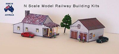 N Scale House with Garage, Model Railway Building Kit, Details - NHG1