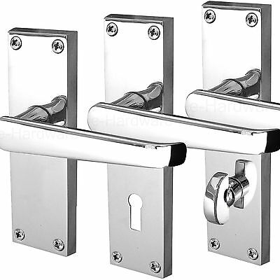 Internal Door Handle Sets on Backplate - Victorian Straight POLISHED CHROME