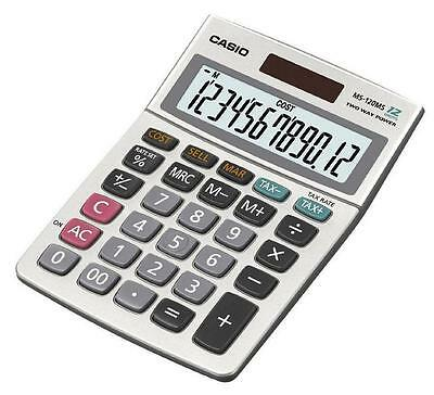 Casio MS-120MS Solar 12-Digit Large Display Desk Business Tax VAT Calculator New