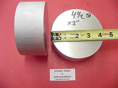 "2 Pieces 4-1/2"" ALUMINUM 6061 ROUND ROD 2"" LONG T6511 4.5"" Solid Lathe Bar Stock"
