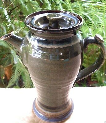 Vintage HAND-CRAFTED Unique Glazed POTTERY TALL COFFEE POT Collectable Australia
