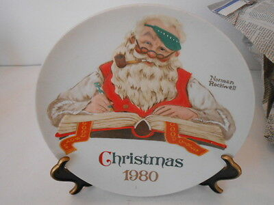 1980 ANNUAL CHRISTMAS PLATE CHECKING HIS LIST ROCKWELL MUSEUM LTD ED