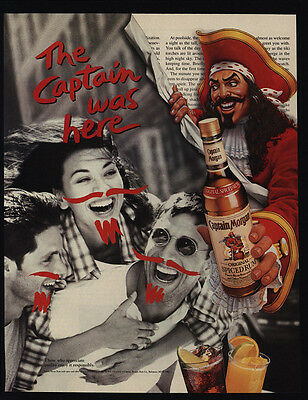 1995 CAPTAIN MORGAN Spiced Rum - The Captain Was Here - Mustasche Art VINTAGE AD
