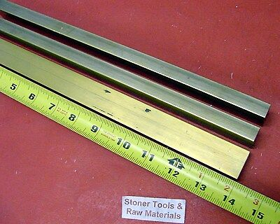 "3 Pieces 1/2"" x 1"" C360 BRASS FLAT BAR 14"" long Solid Mill Stock H02 .50""x 1.00"""