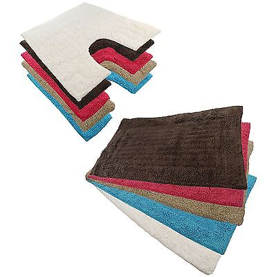 New Cotton 2 Piece Bath Mat And Pedestal Set Non Slip Washable 9 Colours