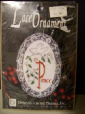 Lace Ornament Counted Cross Stitch Peace Dove and Holly  Ornament Mini  Kit