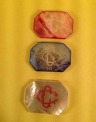 GREAT MOTHER OF PEARL FRENCH CASINO CHIP (SET OF 3 ) IN SUPERB TORNASOLED COLORS