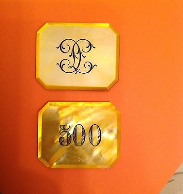 "GREAT MOTHER OF PEARL CASINO CHIPS ( PLAQUE )BIG SIZE $ 500  MONOGRAMED "" C I """