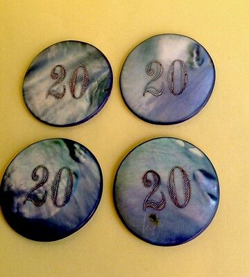 GREAR SET ( 4 ) MOTHER OF PEARL CASINO CHIP $20 DOUBLE FAZ IN LIGHT BLUE COLOR