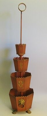 "Rare 31"" Antique French Toleware 4-Tier Planter  c. 1900  Signed w/ Gilt Lions"