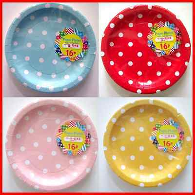 Cute polka dot paper plate red blue yellow pink 4 color set total 64pcs dia 18cm