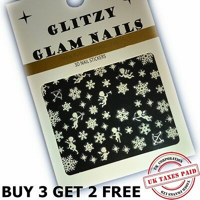 3D Christmas Pink Snowmen & Snowflakes Nail Art Stickers Decals (C3)