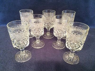 7 Antique Cut Glass Water Goblets Russell Pattern Crystal