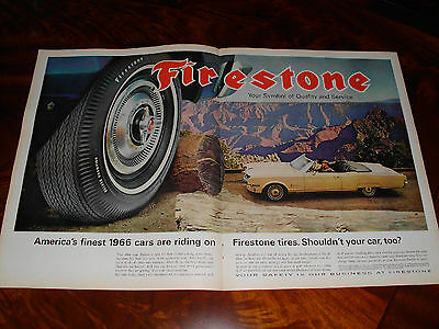 1966 Firestone Plymouth Convertible two full page advertisement 13.5x21 inches