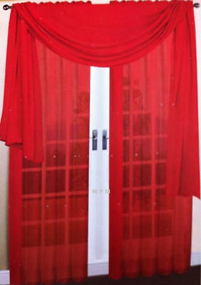 2 SHEER 1 SCARF SET BRIGTH RED VOILE SOLID PANEL WINDOW CURTAIN DRAPE 84""