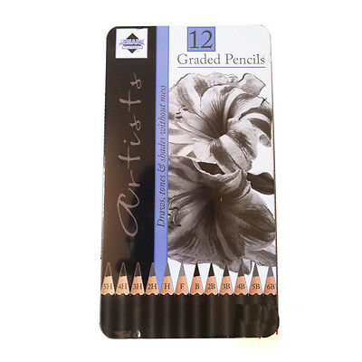 PK12 Sketching Graded Pencils Sketch Artist Tin For Drawing Shading Charcoal