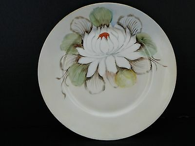 China Plate - White  With Red & White Flower - J.H.W.  Bavaria