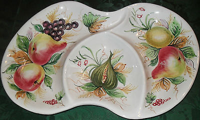 """10%OFF"""" Divided Dish Italy Made Porcelain Fruit Plate/Platter Sgd H.Paint GCOND"""