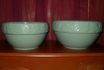 30%OFF !TWO BEAUTIFUL! PORTUGAL LARGE BOWLS, W/AUTUMN LEAVES GREEN GCONDIT. FShi