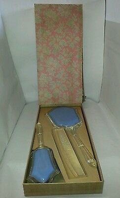 VTG Powder Blue Child Plastic Vanity Set Mirror Brush And Comb With Original Box