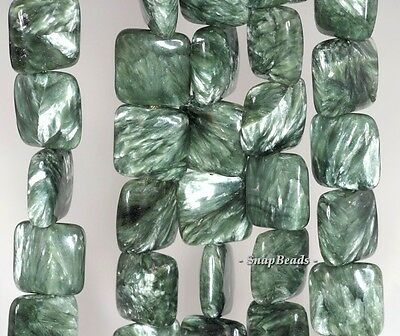 14Mm Seraphinite Gemstone Green Grade Aaa Square 14Mm Loose Beads 7.5""