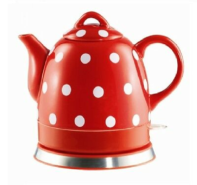 Teapot Ceramic Electric Kettle Warm Plate, Red Polka Dot Decor, Gift, New,13581