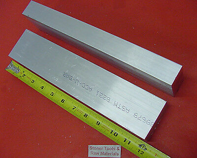 """2 Pieces 1"""" X 2-1/2"""" ALUMINUM 6061 FLAT BAR 12"""" long T6 Solid Plate Mill Stock"""