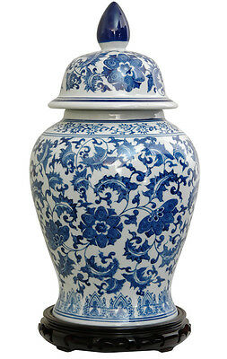 Classic Asian Ceramic Urn -  Chinese Porcelain Temple Floral Jar Blue collection