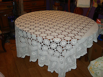 Vintage Handmade White Crocheted Tablecloth - Rectangle
