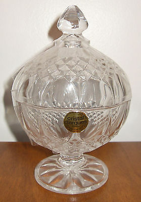Genuine Lead Crystal Footed Candy Dish from France - Cristal d'Arques