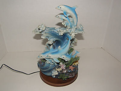 """Led 5  Dolphins Coral Figurine Table Lamp-Changing Colors-Wood Base -12"""""""