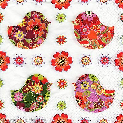 4 x Single PAPER NAPKINS Birds with Floral Pattern DECOUPAGE CRAFTS PARTY