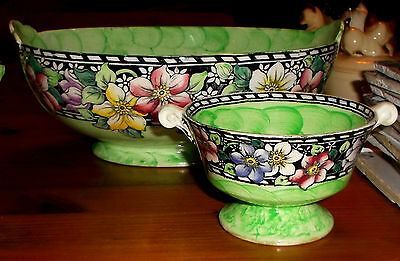 MALING CLEMATIS PATTERN GREEN THUMBPRINT LUSTRE FRUIT BOWL & BONBON DISH