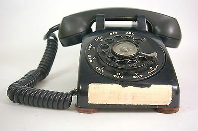 Vintage 1957 Western Electric Phone Black Rotary Dial 500 Air Force Telephone