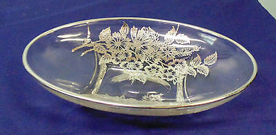Silver City Springtime Glass Oval Pickle Dish Silver Overlay
