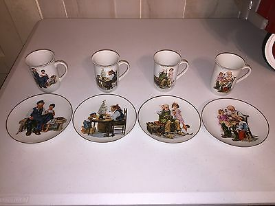 Norman Rockwell  Cups & Plates Set  Of 8