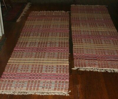 RARE PAIR of Swedish Antique Rag Rugs, 1920s (29.5x103 and 29.5x106 inches)