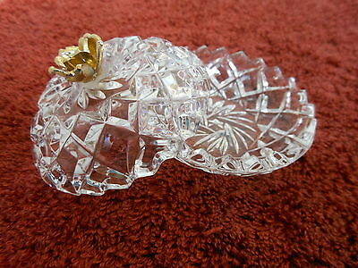 Vintage Covered Glass 2 3/4 inch Trinket Dish with Gold Tone Flower on Cover