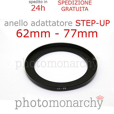 Anello STEP-UP adattatore da 62mm a 77mm filtro - STEP UP adapter ring 62 77 mm