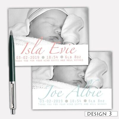 New Baby Boy Girl Personalised Thank You New Baby Cards Note Card Envelopes