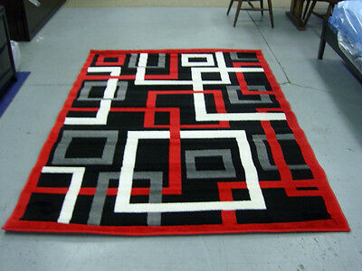 Modern  5x8 Area Rug Carpet NEW Black Red Beige Browm *MANY COLORS*